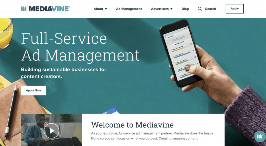 Mediavine home page - alternative to Google AdSense