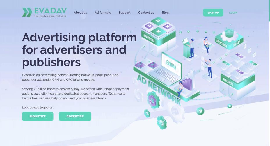 Evadav homepage