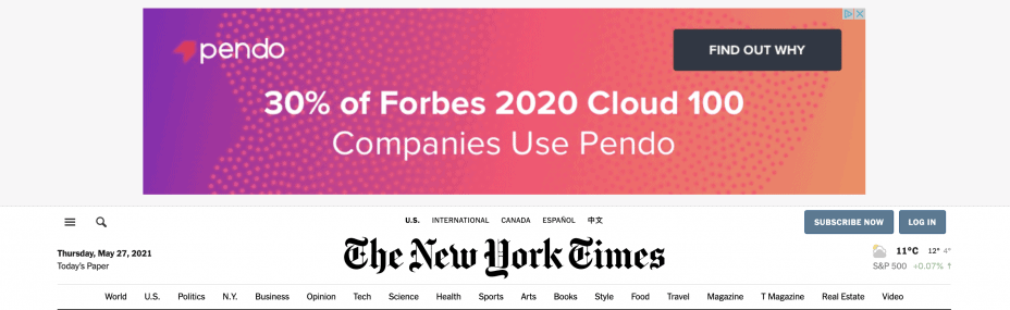 screengrab of NYT front page showing a display ad along the top